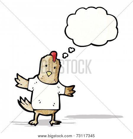 cartoon chicken in tee shirt