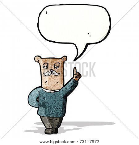 cartoon bear explaining his point