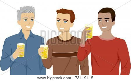Illustration Featuring Three Generations of Men Drinking Beer Together