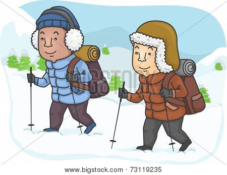 Illustration Featuring Men Hiking in a Snowy Mountain