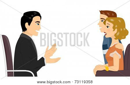 Illustration Featuring a Couple Getting Counseling Together