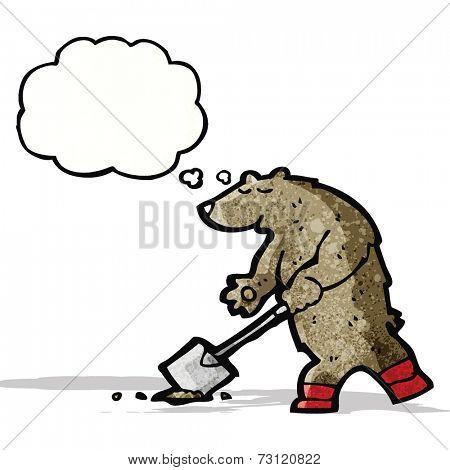cartoon bear digging with spade