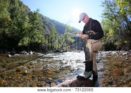 Flyfisherman choosing artificial fly as bait
