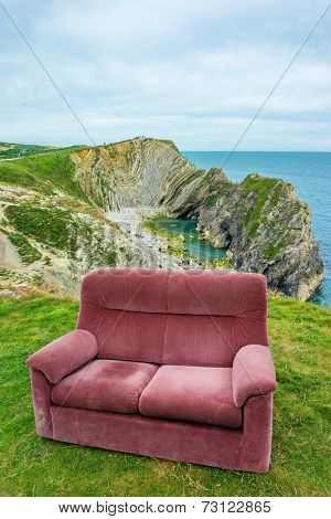 sofa at the top of the hill , uk , dorset sea view