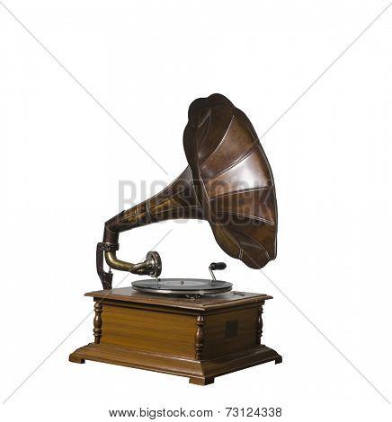 Photo of retro gramophone isolated over white background