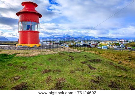Lighthouse in the town of Stykkisholmur at Snaefellsnes Peninsula in western Iceland
