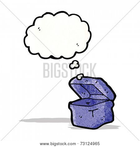 box cartoon character with thought bubble
