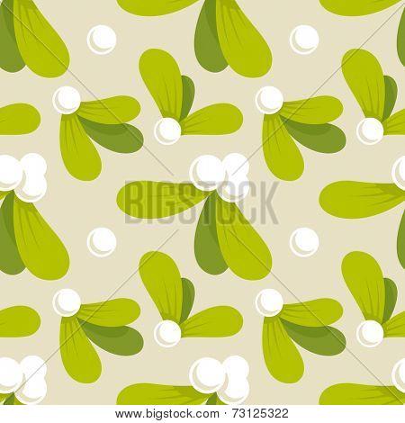 Christmas mistletoe seamless pattern