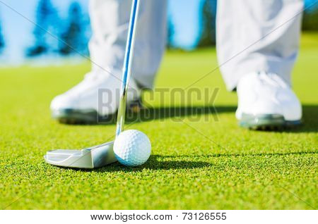 Man Putting Golf Ball into the Hole, Close up detail Shot
