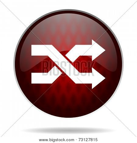 aleatory red glossy web icon on white background