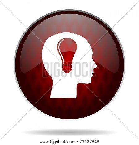 head red glossy web icon on white background