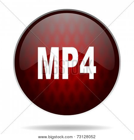 mp4 red glossy web icon on white background