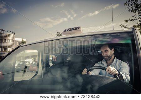 Portrait of a taxi driver