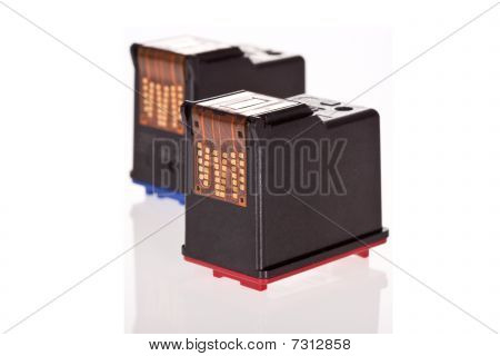 Printer Inkjet cartridges isolated on white