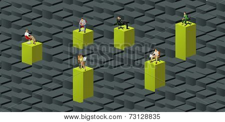 colorful template for advertising brochure with business people over green blocks