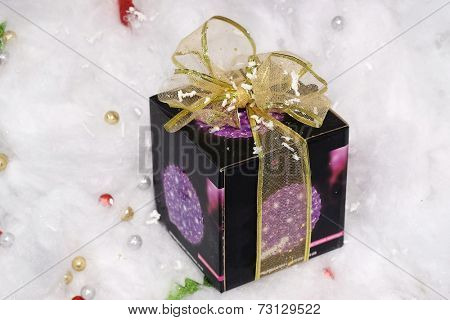 Gift box with  ribbon under the white background