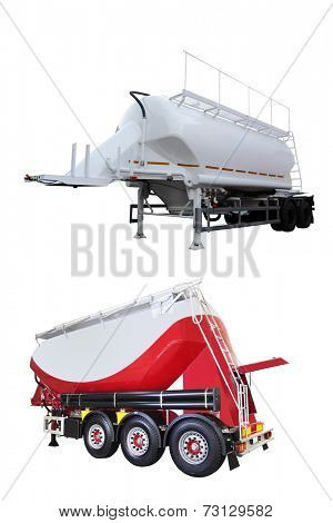 The image of cement semitrailer under the white background