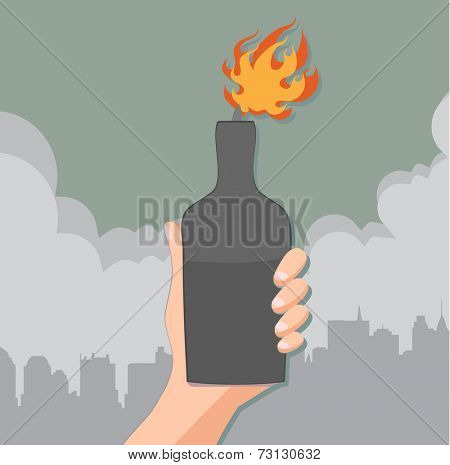 hand holding a bottle with molotov cocktail - concept of protest