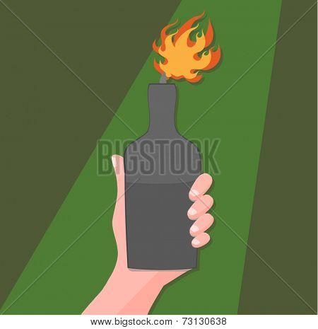 hand with a molotov cocktail - symbol of protest
