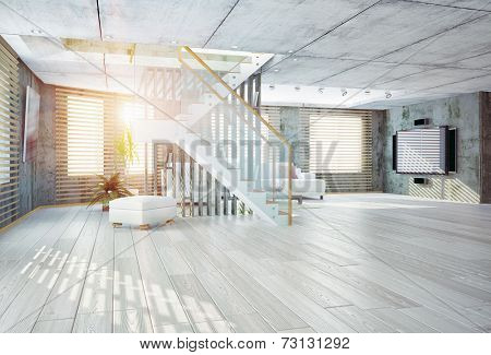 Modern loft  interior. Contemporary design concept 3d