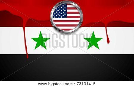 USA and Syria political concept background. Vector design