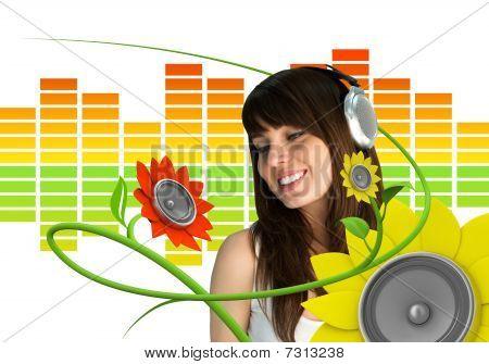 Happy Young Music Fan