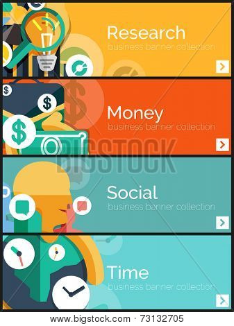 Set of flat design internet business banners concepts for web. Research graph and magnifying glass, money briefcase, social head chat communication and world time idea