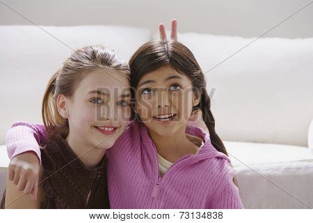 Two girls acting silly