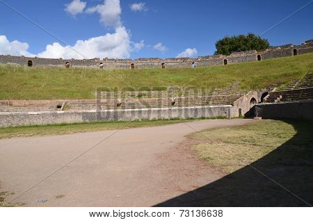 Amphitheater in famous antique ruins of Pompeii, Italy