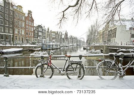 Amsterdam in winter in the Netherlands