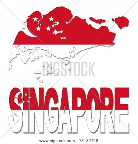 Singapore map flag and text vector illustration