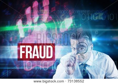 The word fraud and focused businessman with magnifying glasses against red technology hand print design