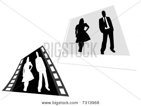 a film strip and photo with business people