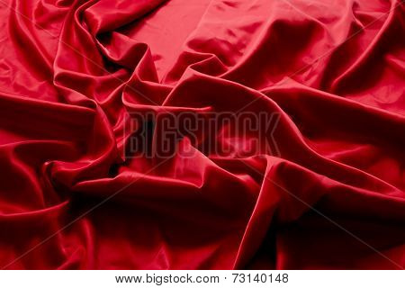 Valentines red silk fabric background