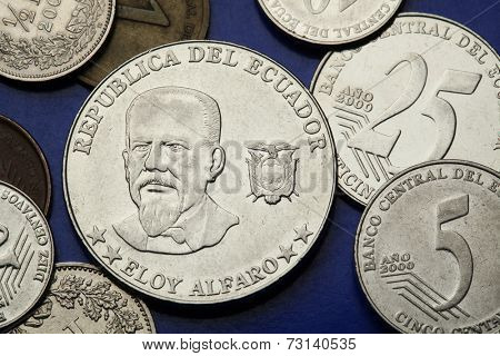 Coins of Ecuador. President of Ecuador Eloy Alfaro depicted in the Ecuadorian centavo coins.