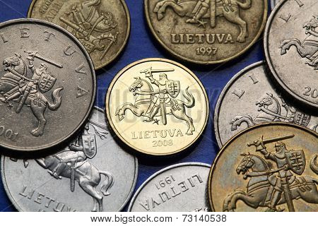 Coins of Lithuania. Lithuanian national coats of arms known as the Vytis depicted in Lithuanian litas coins.