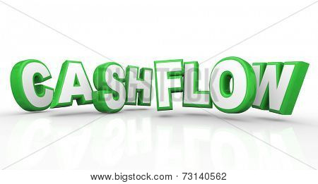 Cashflow word in 3d letters as a revenue stream of money or earnings for a job or business