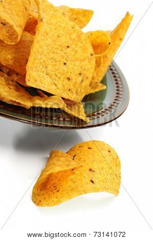 Corn chips studio isolated on white background
