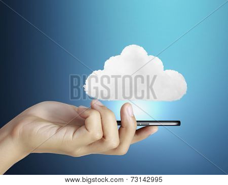 Businessman connection touch screen mobile phone