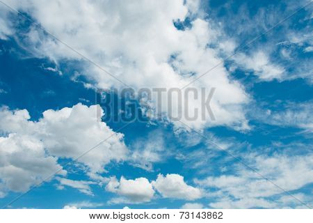 Cloudscape of bright blue sky
