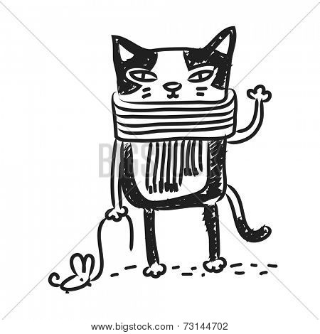 Cat drawing, doodle. Funny cartoon kitten, vector line art.