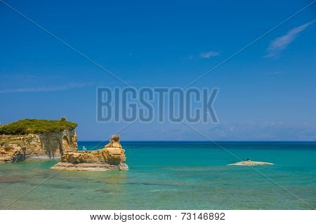View of the bay of Sidari on Corfu Greece