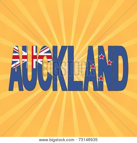 Auckland flag text with sunburst illustration
