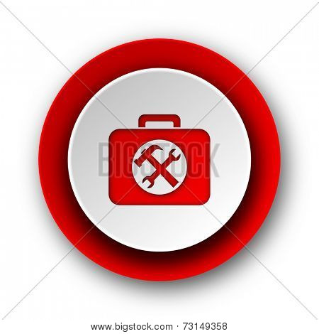 toolkit red modern web icon on white background