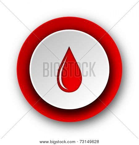 water drop red modern web icon on white background