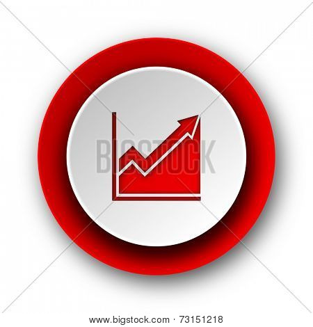 histogram red modern web icon on white background
