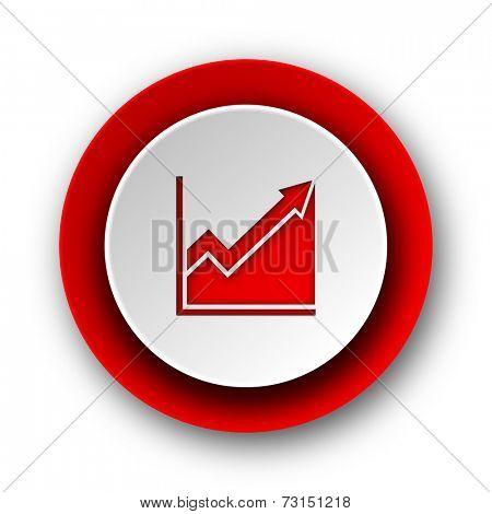 histogram red modern web icon on white background