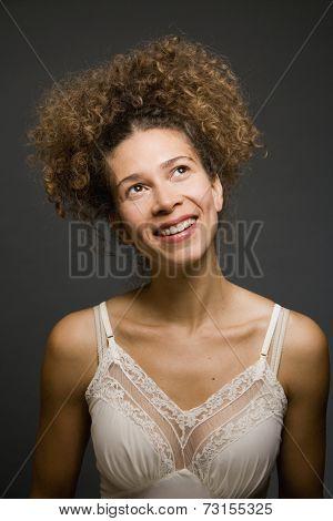 Studio shot of Hispanic woman wearing slip
