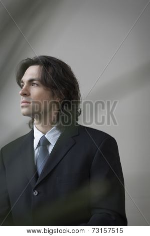 Portrait of businessman looking to side