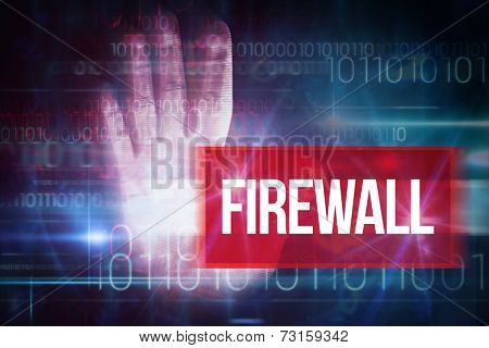 The word firewall and red technology hand print design against blue technology design with binary code